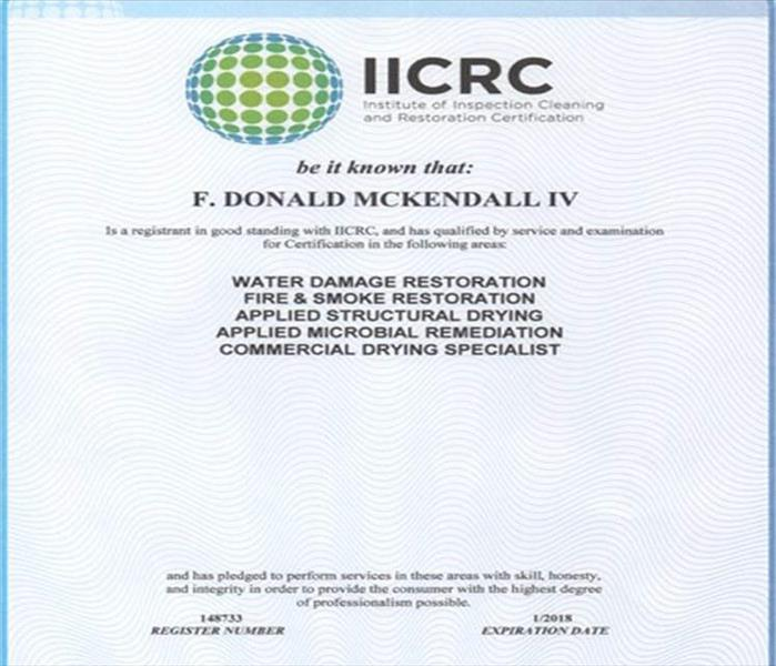 Donald McKendall Receives Another IICRC Certification